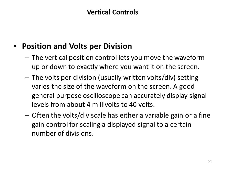 Position and Volts per Division