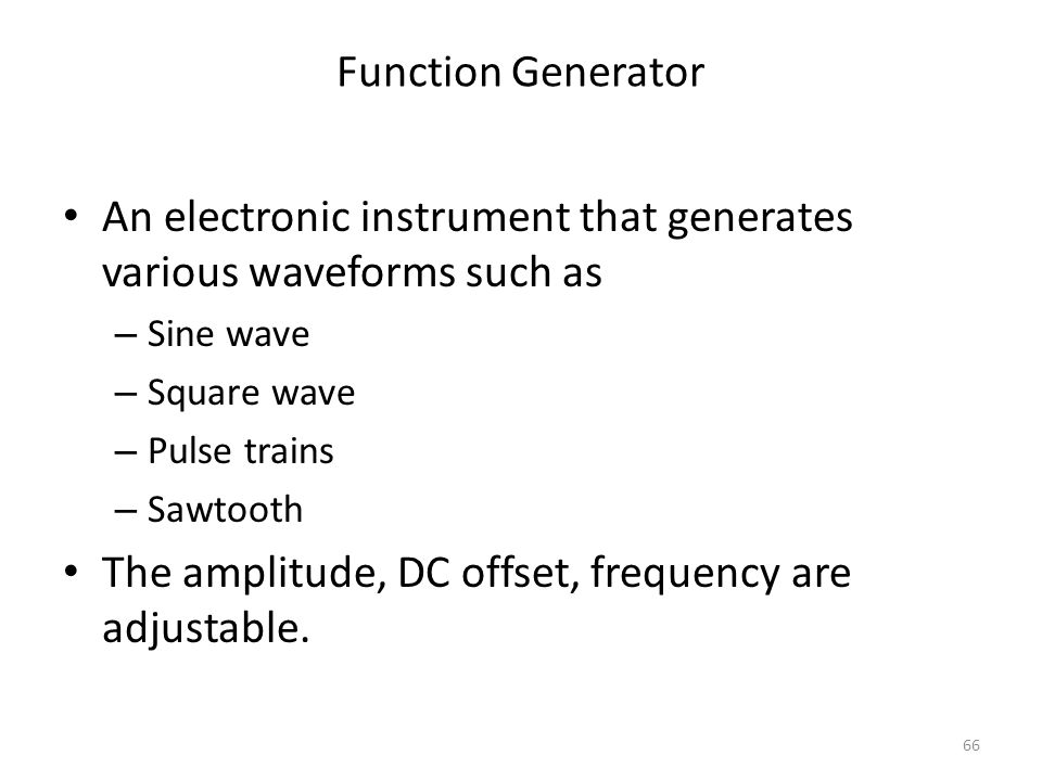 An electronic instrument that generates various waveforms such as
