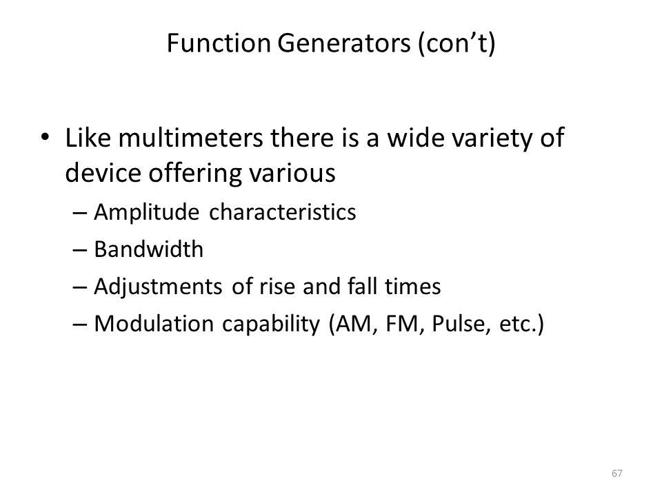 Function Generators (con't)