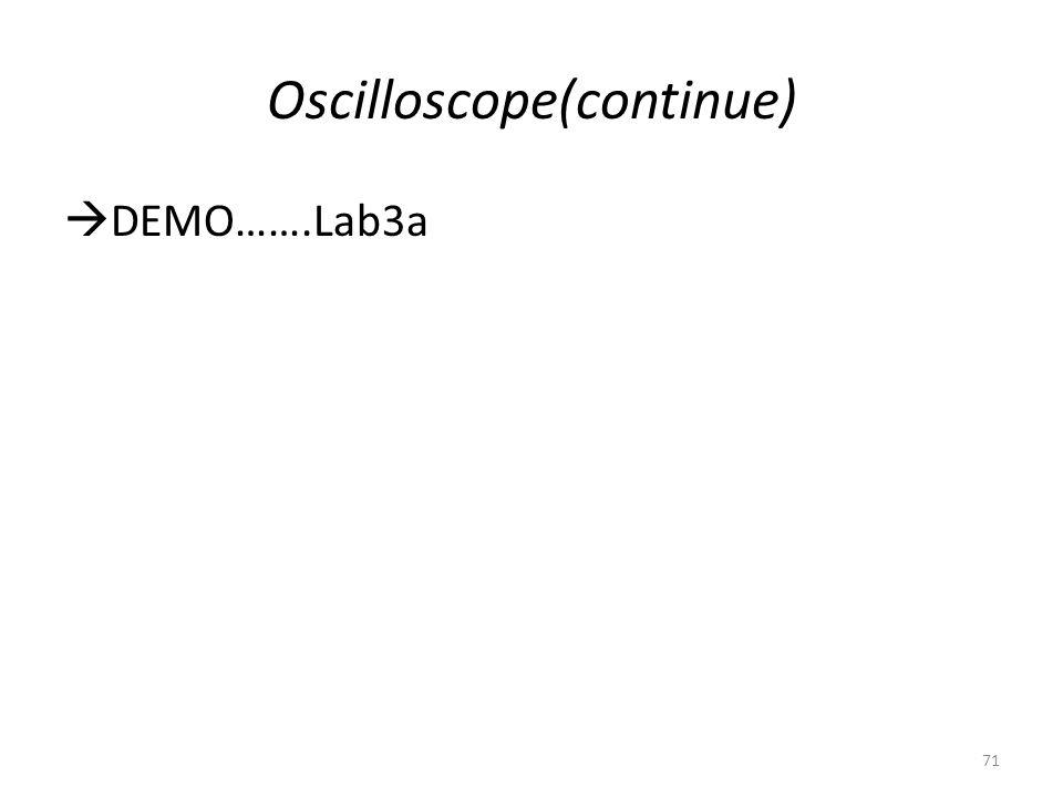 Oscilloscope(continue)