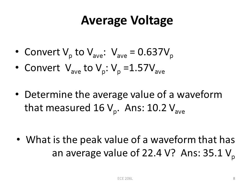 Average Voltage Convert Vp to Vave: Vave = 0.637Vp