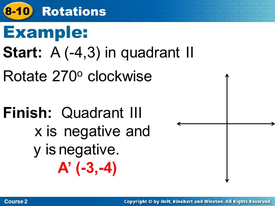 Example: Start: A (-4,3) in quadrant II Rotate 270o clockwise