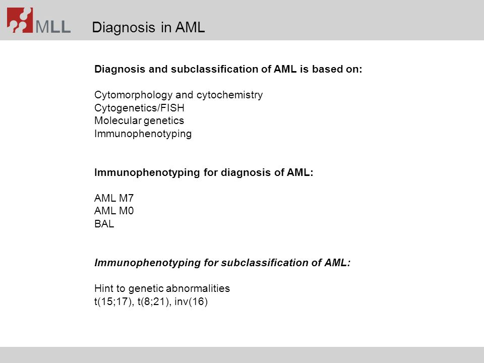 Diagnosis in AML Diagnosis and subclassification of AML is based on:
