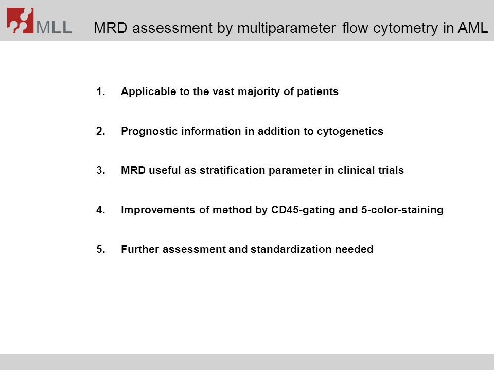 MRD assessment by multiparameter flow cytometry in AML