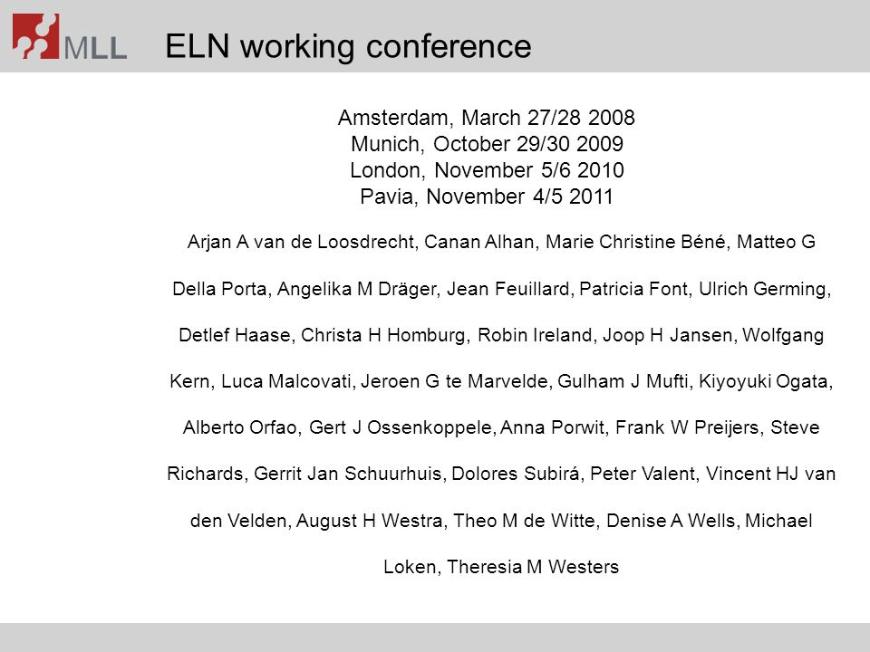 ELN working conference
