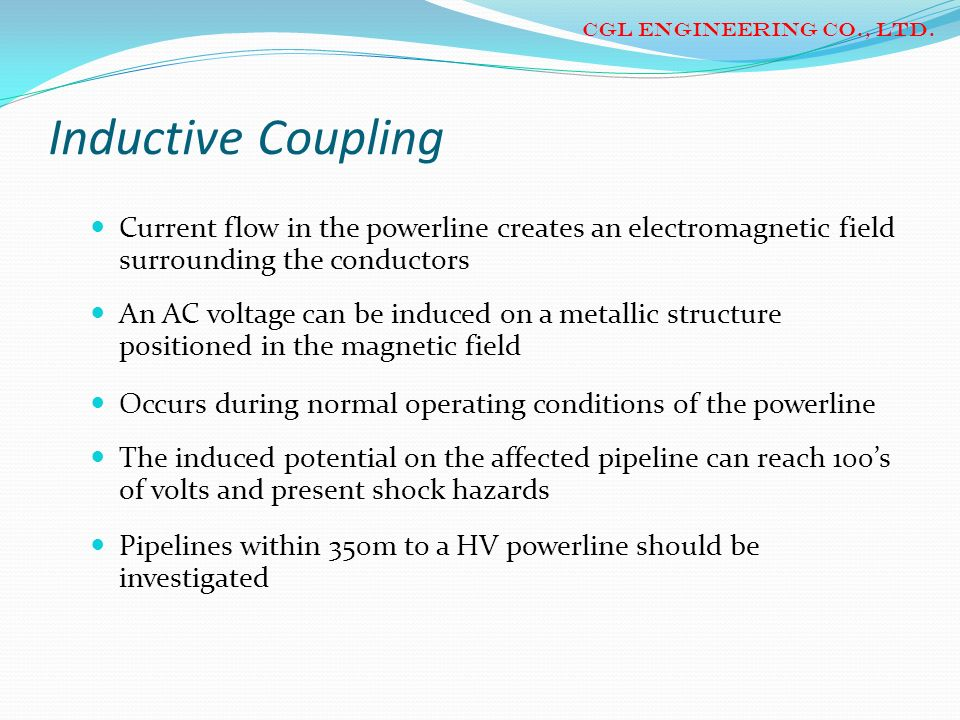 CGL ENGINEERING CO., LTD. Inductive Coupling. Current flow in the powerline creates an electromagnetic field surrounding the conductors.