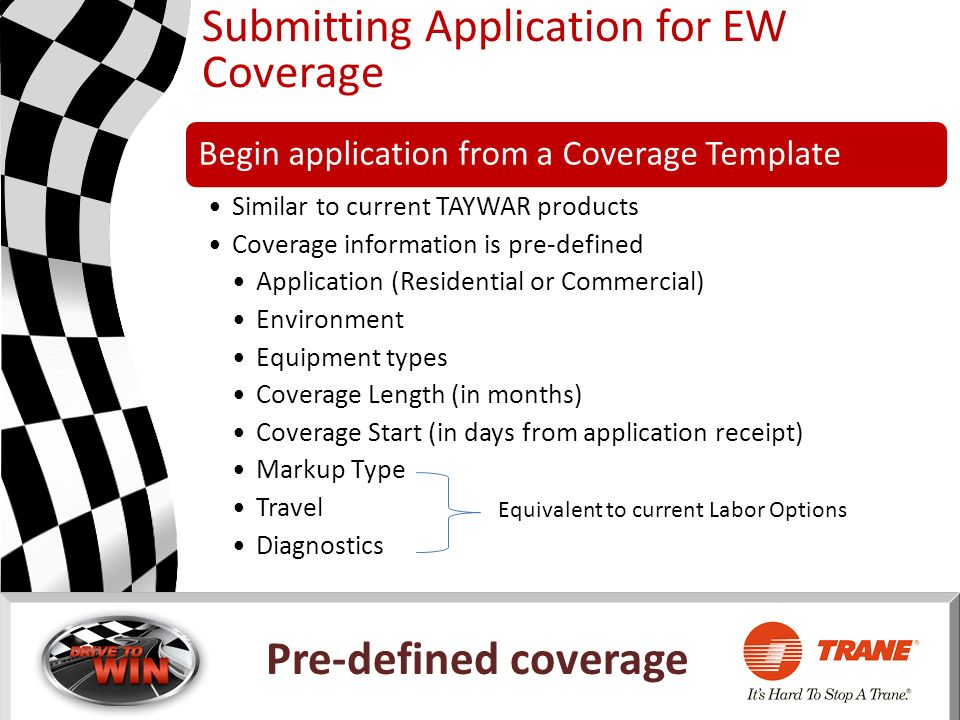 Submitting Application for EW Coverage