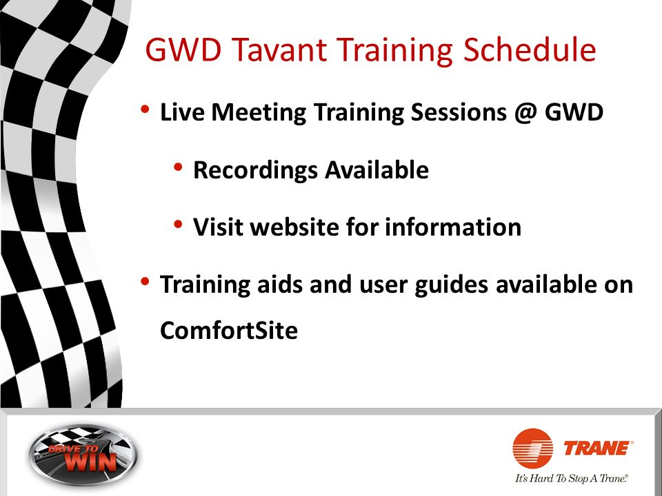 GWD Tavant Training Schedule