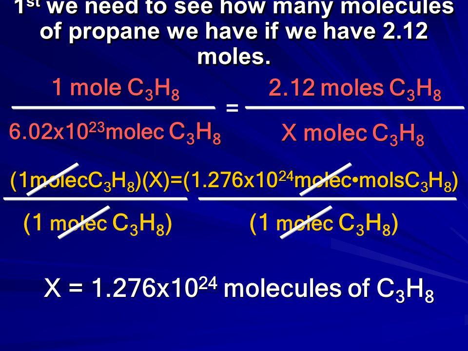 (1molecC3H8)(X)=(1.276x1024molec•molsC3H8)