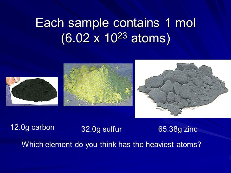 Each sample contains 1 mol (6.02 x 1023 atoms)