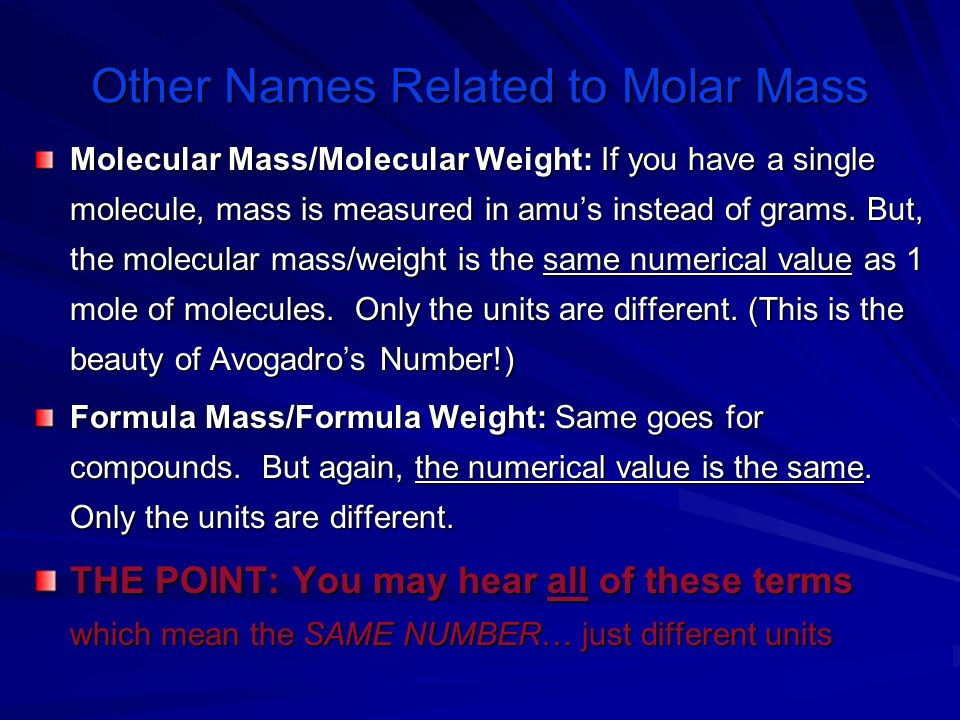 Other Names Related to Molar Mass
