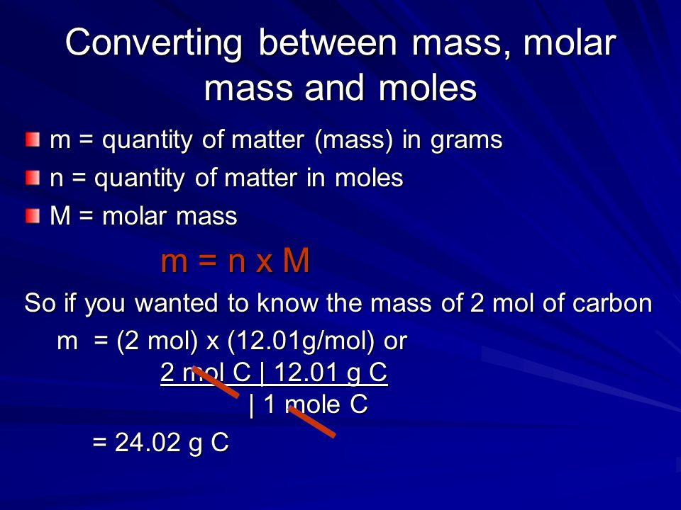 Converting between mass, molar mass and moles