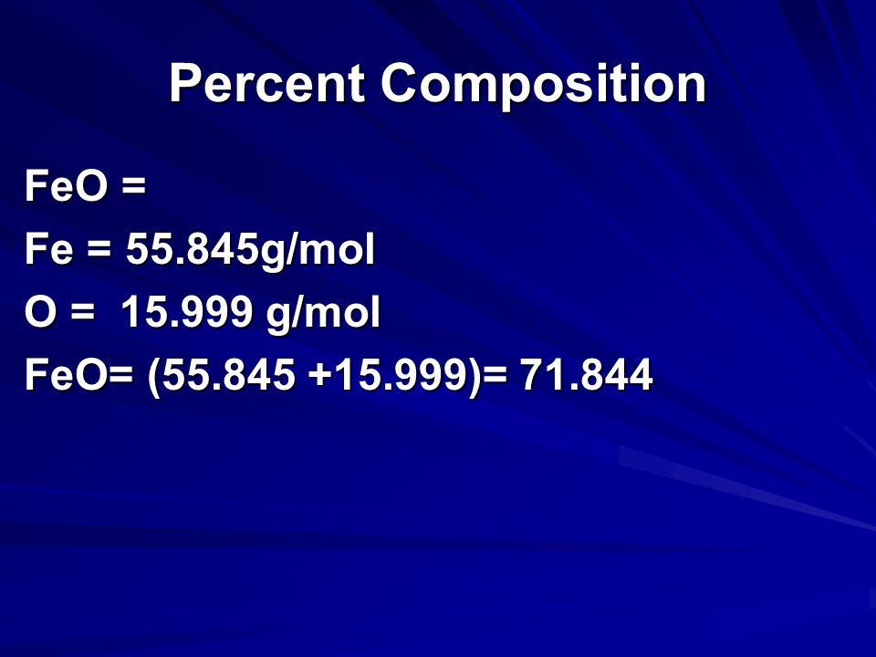 Percent Composition FeO = Fe = 55.845g/mol O = 15.999 g/mol