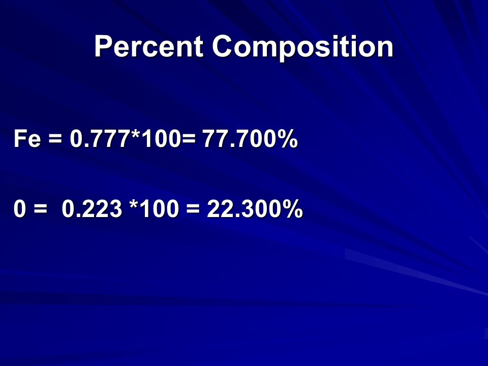 Percent Composition Fe = 0.777*100= 77.700% 0 = 0.223 *100 = 22.300%