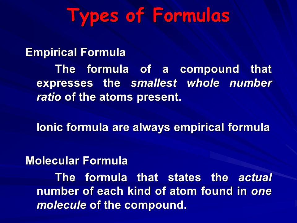 Types of Formulas Empirical Formula
