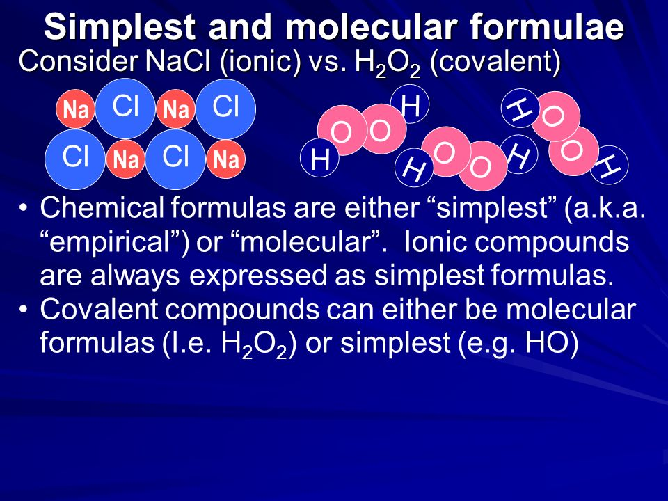 Simplest and molecular formulae