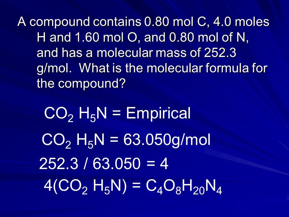 CO2 H5N = Empirical CO2 H5N = 63.050g/mol 252.3 / 63.050 = 4