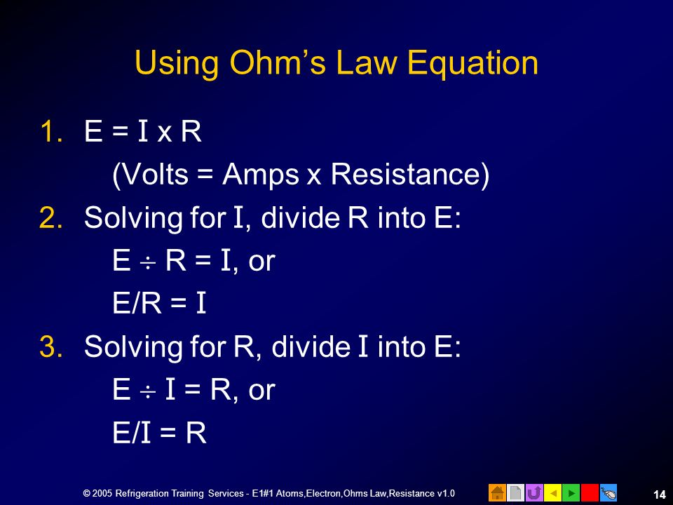 Using Ohm's Law Equation