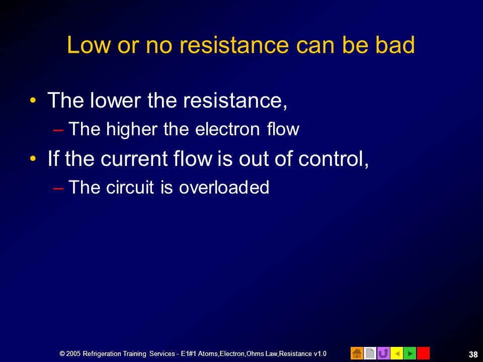 Low or no resistance can be bad