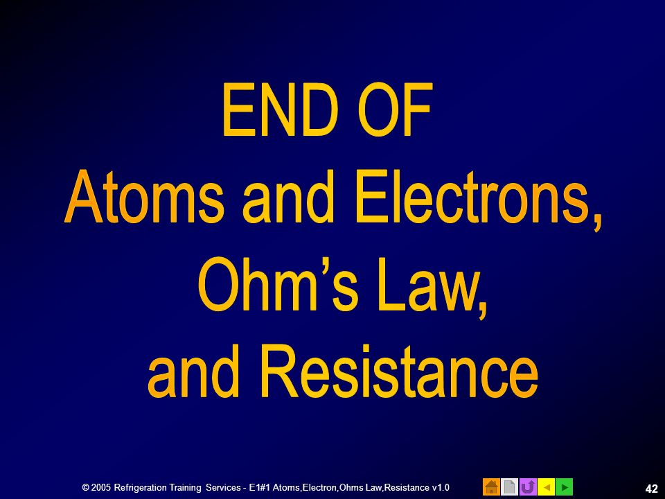 END OF Atoms and Electrons, Ohm's Law, and Resistance