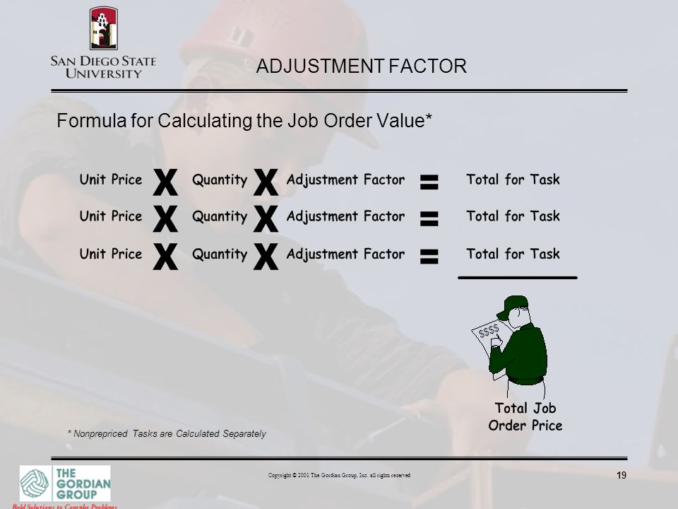 Formula for Calculating the Job Order Value*