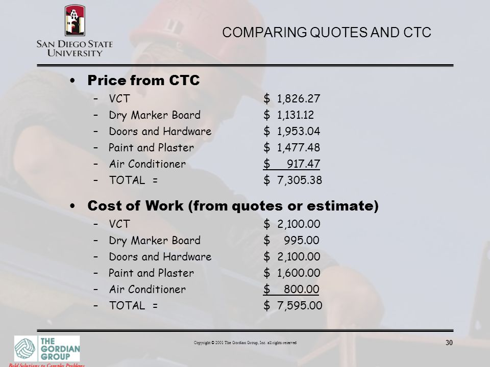 COMPARING QUOTES AND CTC