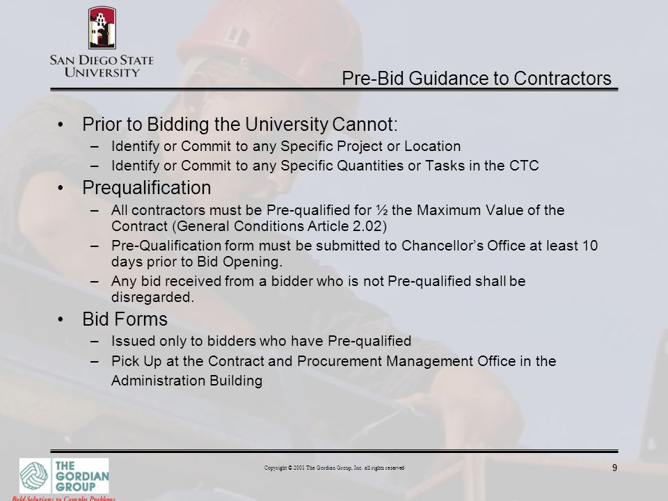 Pre-Bid Guidance to Contractors