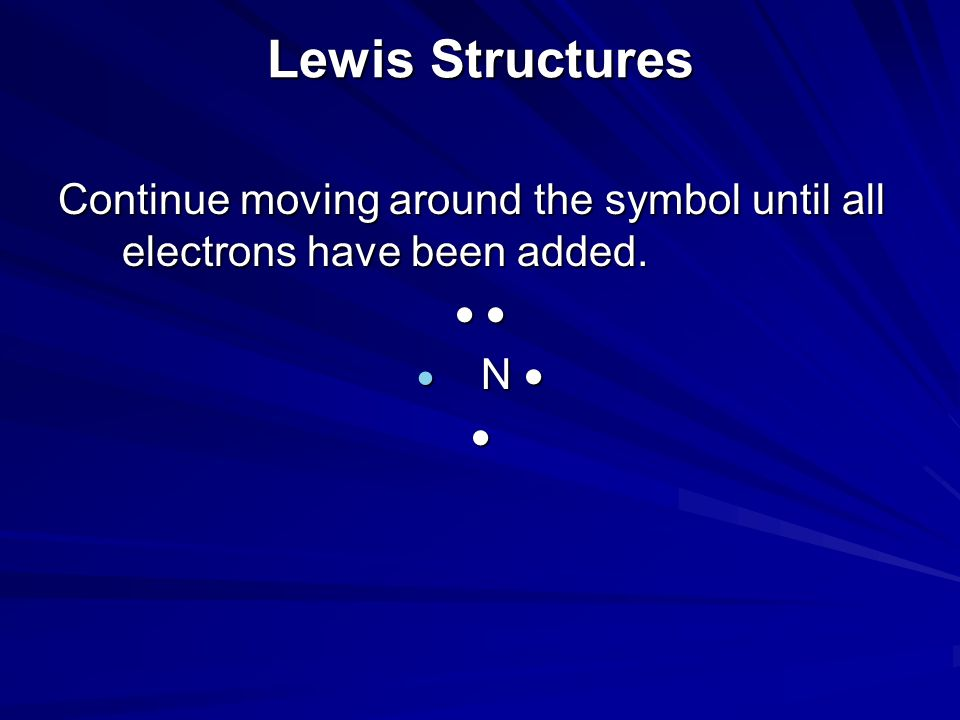 Lewis Structures Continue moving around the symbol until all electrons have been added.   N  