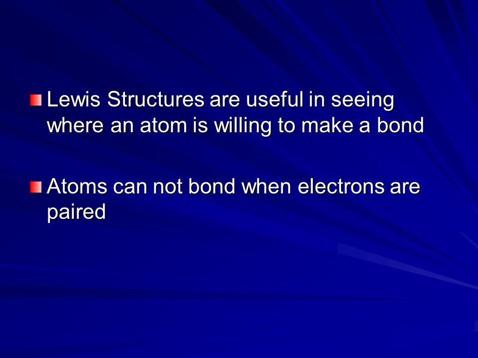 Lewis Structures are useful in seeing where an atom is willing to make a bond