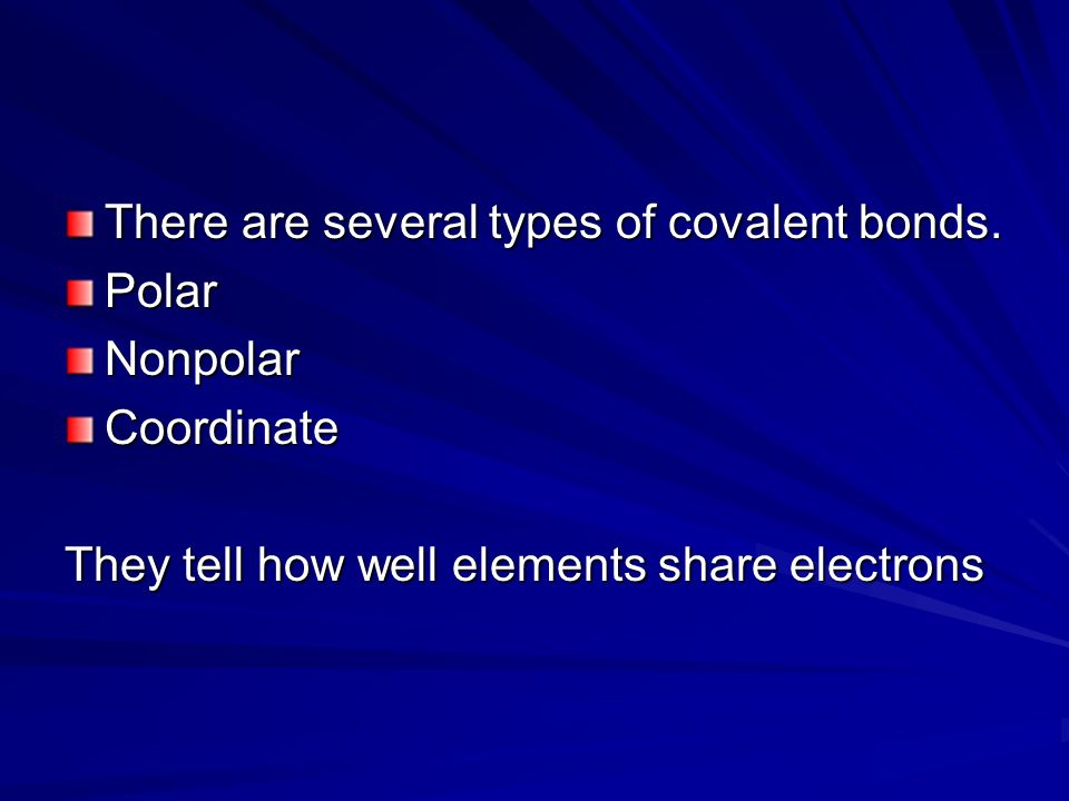 There are several types of covalent bonds.