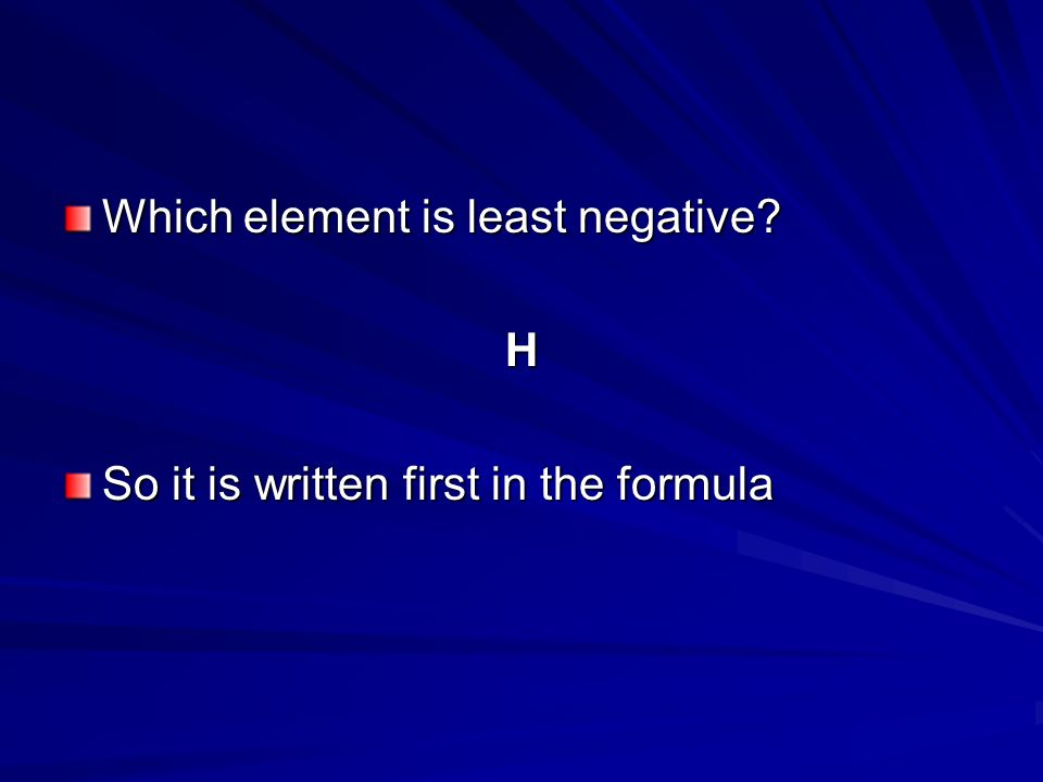 Which element is least negative