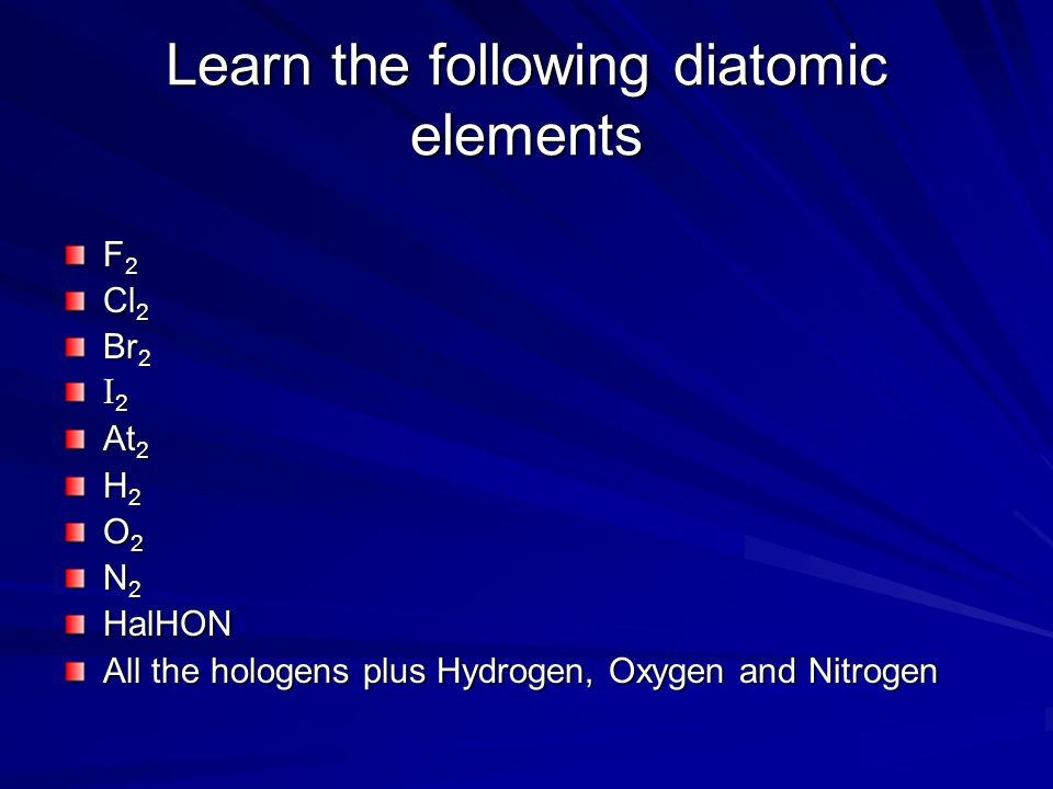 Learn the following diatomic elements