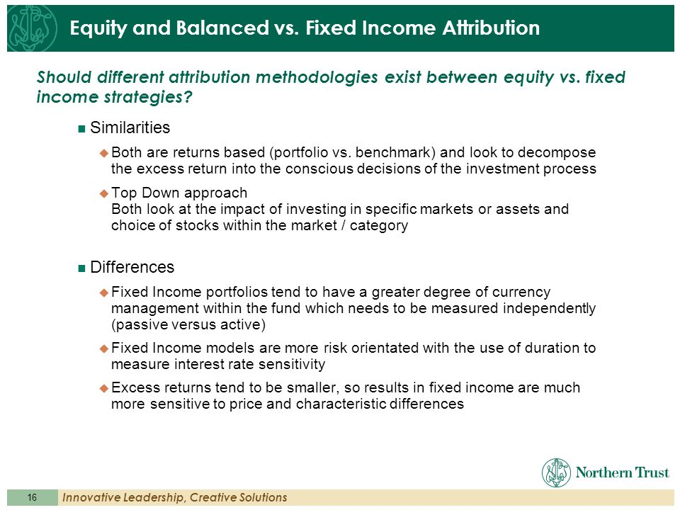 Equity and Balanced vs. Fixed Income Attribution