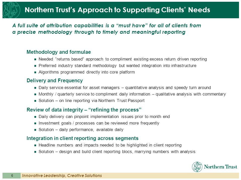 Northern Trust's Approach to Supporting Clients' Needs