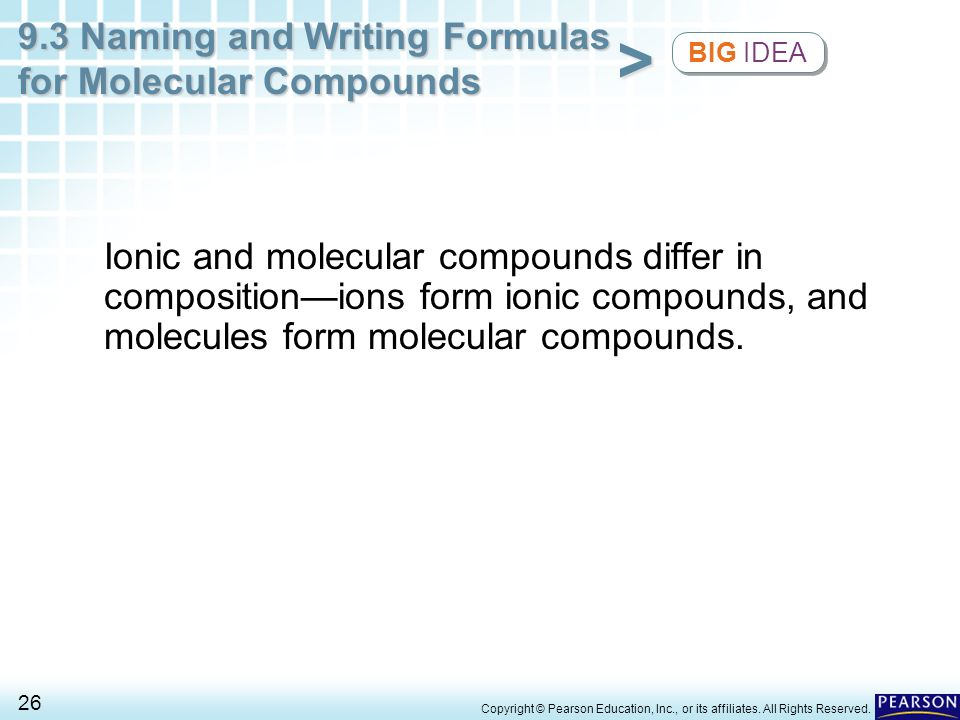 BIG IDEA Ionic and molecular compounds differ in composition—ions form ionic compounds, and molecules form molecular compounds.