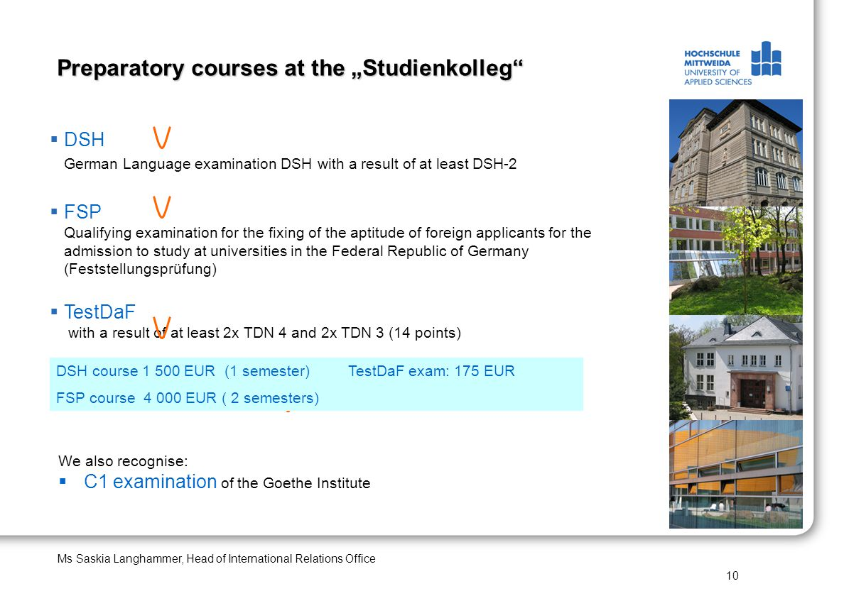 "Preparatory courses at the ""Studienkolleg"