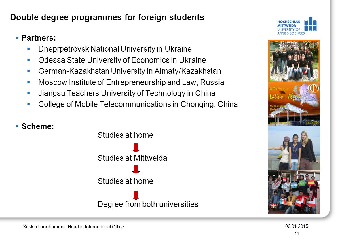 Double degree programmes for foreign students