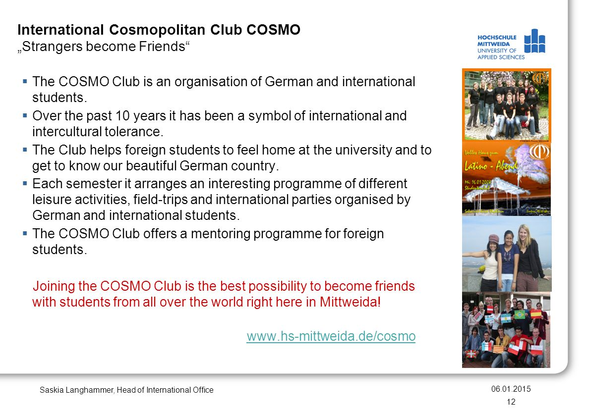"International Cosmopolitan Club COSMO ""Strangers become Friends"