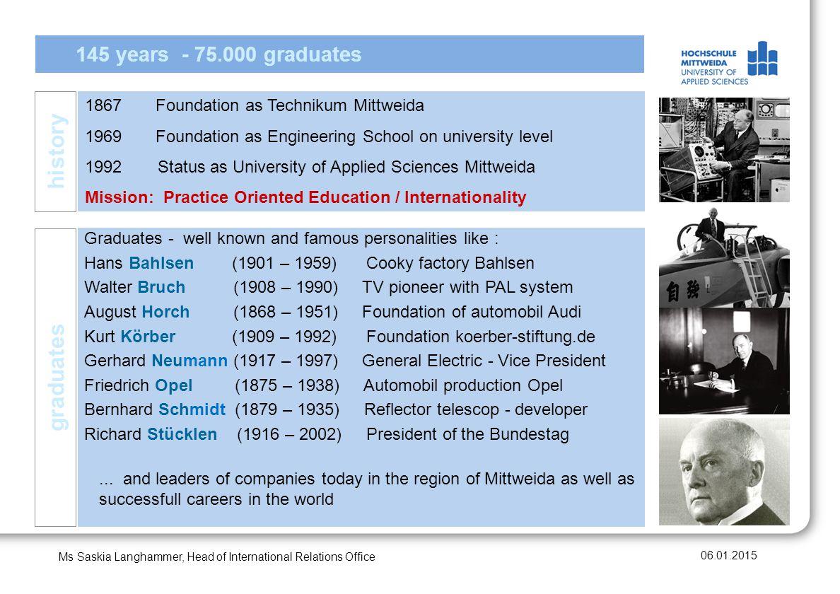 history graduates 145 years - 75.000 graduates