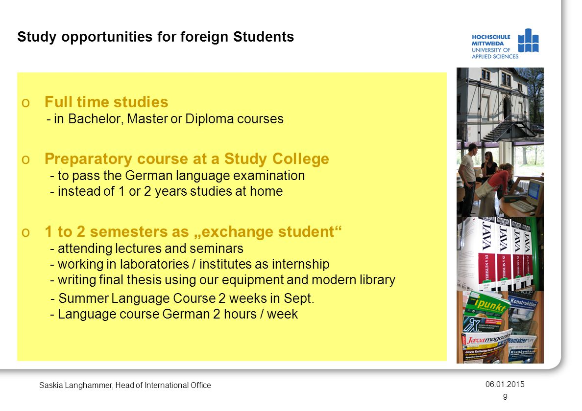 Study opportunities for foreign Students