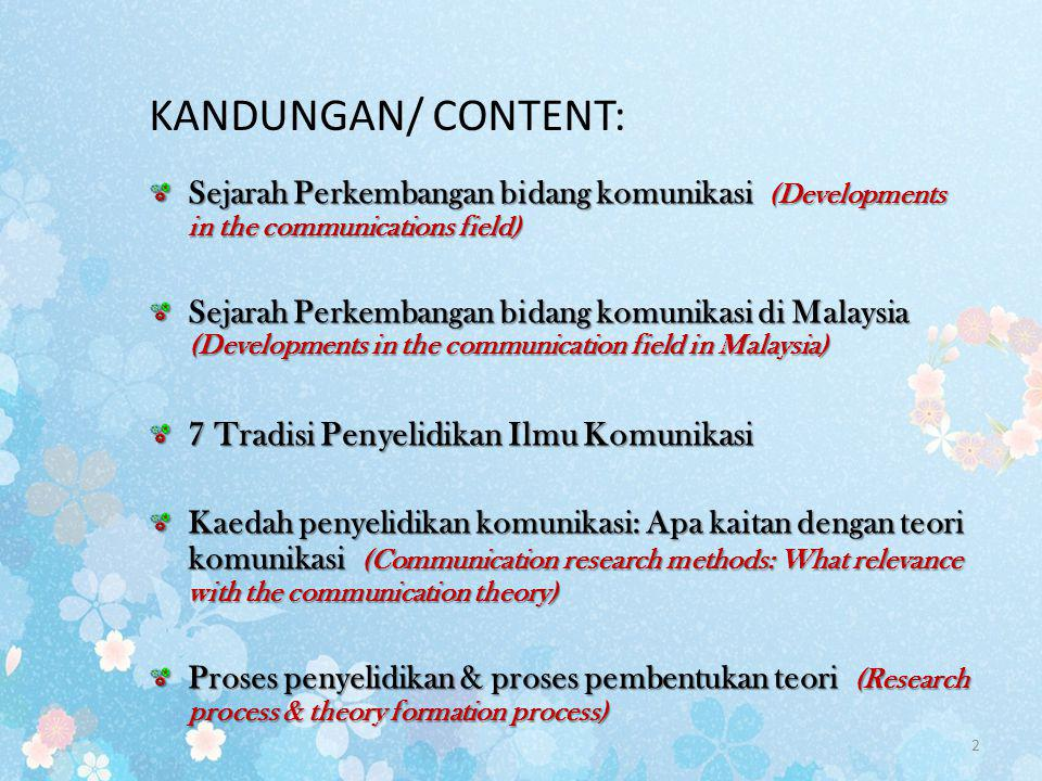 KANDUNGAN/ CONTENT: 7 Tradisi Penyelidikan Ilmu Komunikasi