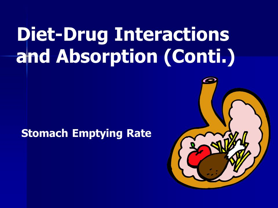 Diet-Drug Interactions and Absorption (Conti.)