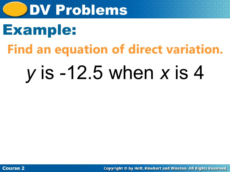 Find an equation of direct variation.