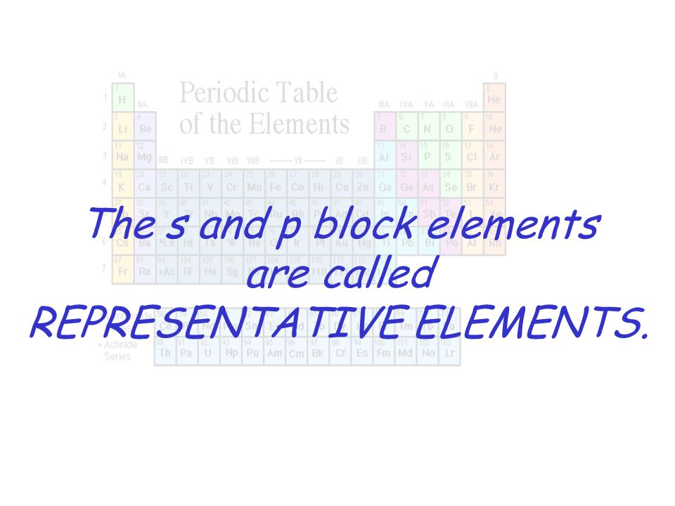 The s and p block elements are called REPRESENTATIVE ELEMENTS.