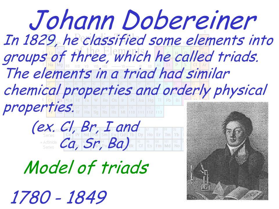 Johann Dobereiner Model of triads 1780 - 1849