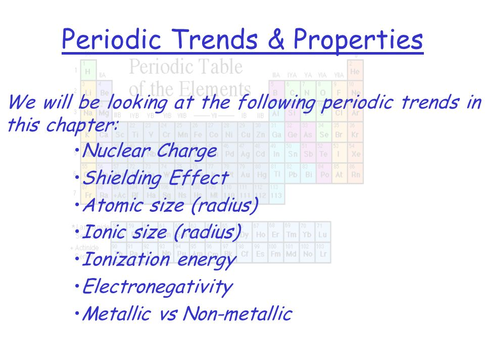 Periodic Trends & Properties