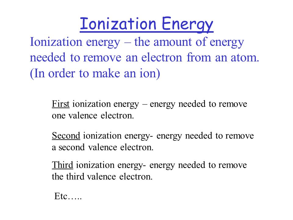 Ionization Energy Ionization energy – the amount of energy needed to remove an electron from an atom. (In order to make an ion)
