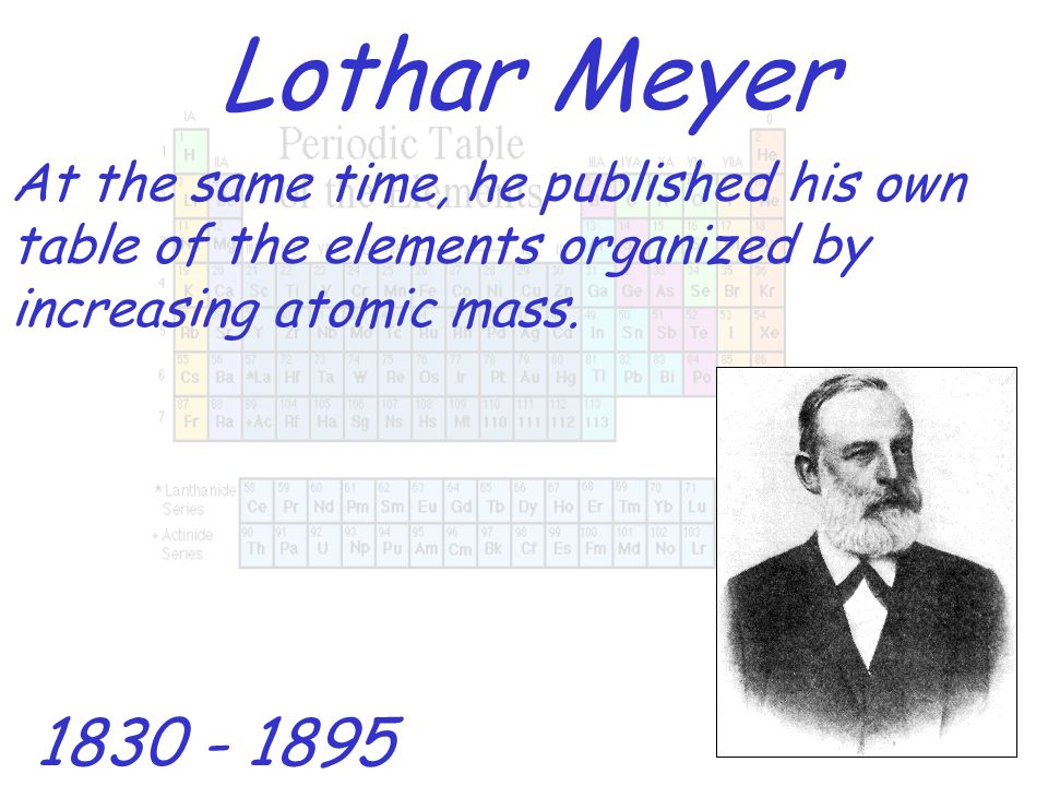 Lothar MeyerAt the same time, he published his own table of the elements organized by increasing atomic mass.