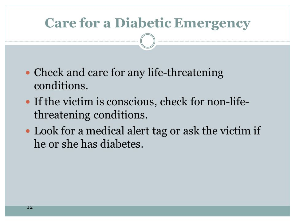 Care for a Diabetic Emergency