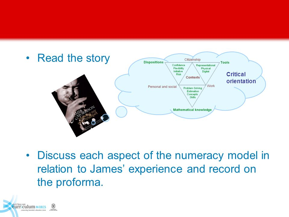 Read the story Discuss each aspect of the numeracy model in relation to James' experience and record on the proforma.